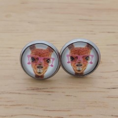 Glass dome stud earrings Llama with glasses