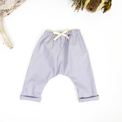 Grey Linen Harem Baby Pants - Kids Loose Fitting Linen Yoga Pants