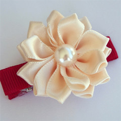 Christmas Cream Satin Flower on red hair clip