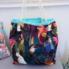 Bird tote // market bag // beach bag // eco friendly shopper