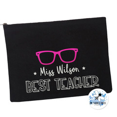 Best Teacher Gift Black Pencil case Personalised Large Zip Pouch Makeup Bag