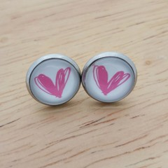 Glass dome stud earrings Pink heart