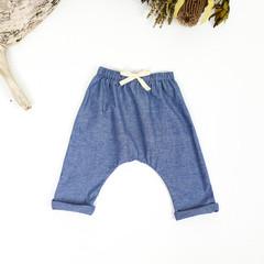 Blue Chambray Cotton Toddler Harem Pants - Kids Loose Fitting Yoga Pants