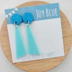 Geometric acrylic earrings Blue glitter on blue