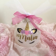 Unicorn custom made Christmas baubles