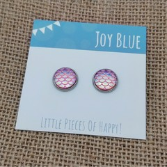 Mermaid pink stud earrings