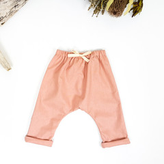 Blush Pink Linen Baby Harem Pants - Girls Loose Fitting Linen Yoga Pants