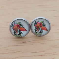 Glass dome stud earrings Toucan Bird with flowers
