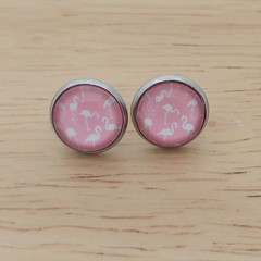 Glass dome stud earrings Flamingo