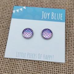 Mermaid purple stud earrings