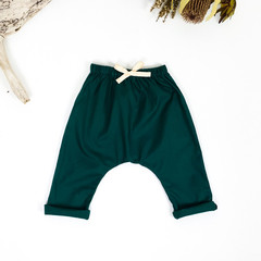 Emerald Green Cotton Harem Pants - Kids Loose Fitting Yoga Pants