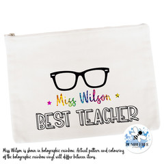 Best Teacher Gift Pencil case Personalised Large Canvas Zip Pouch Makeup Bag