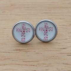 Glass dome stud earrings Cross