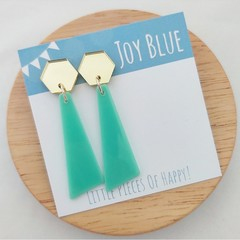Geometric acrylic earrings Gold mirror on mint green