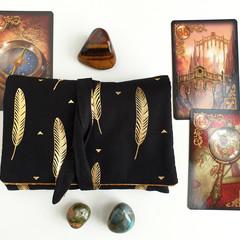 Gold Tarot Card Bag, Velvet Lenormand Pouch, Gold Leaf