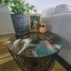 Earthy Tone Resin Storage Table