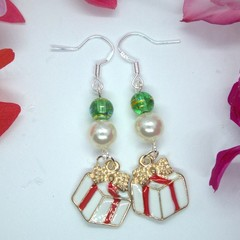 Handcrafted Sterling Silver Drop Christmas Earrings with Present Pendant