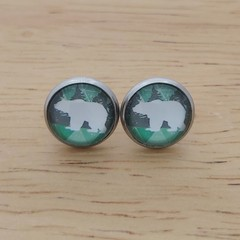 Glass dome stud earrings polar bear
