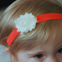 Cream Shabby Chiffon Flower on Coral Stretch Headband.