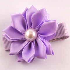 Pretty Purple satin flower hair clip