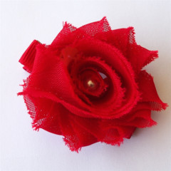 Red Shabby Chiffon Flower hair clip.