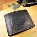 Wallet Embossed Image And Coin Pouch. Outer COW Inner KANGAROO leather. Personal