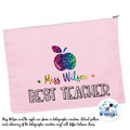 Pink Teacher Gift Pencil case Personalised Large Zip Pouch Makeup Bag Stationary