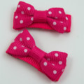 Pair of hot pink and white polka dot Baby / Girls Hair Clip / Clips