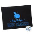 Best Teacher Gift Black Pencil case Personalised Large Zip Pouch Makeup Bag