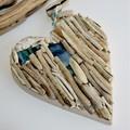 Driftwood heart with artglass wall hanging