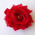 Red Shabby Chiffon Flower hair clip.