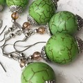 Beautiful Lime Green Stone Bauble Natural Toned Dangle Earrings