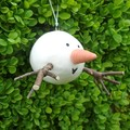 Handmade Ceramic Snowman Christmas Ornament with Twig Arms