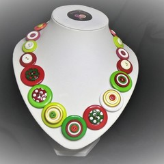 Christmas button necklace - Christmas Colours