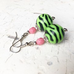 Funky Bright Pink Green Black Tiger Stripe Fantastic Plastic Ball Earrings