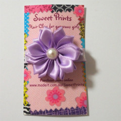 Pretty lilac Polka Dot and Flower clip