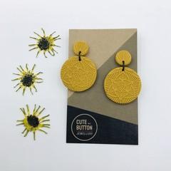 Textured Vintage Floral Dangles - Mustard