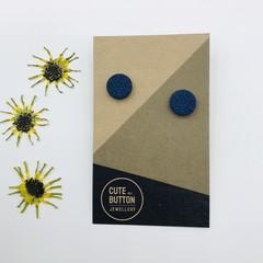 Textured Vintage Floral Studs - Navy
