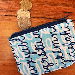 Coin purse - cursive writing