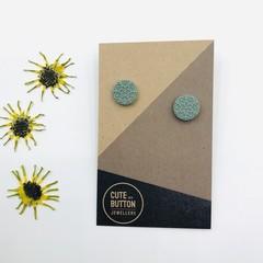Textured Vintage Floral Studs - Sage Green