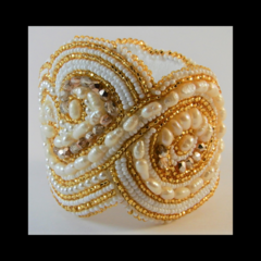 Bridal Bracelet Cuff in Gold, White & Ivory
