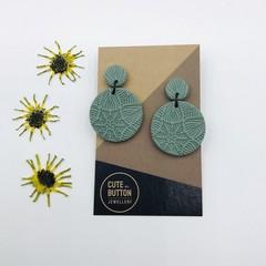 Textured Vintage Floral Dangles - Sage Green