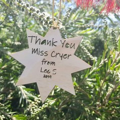 Custom Laser Cut Teacher Gift,Teacher Thank you, star, decoration.Christmas tree