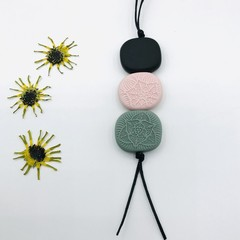 Textured Vintage Pendant - Black/Sage/Blush
