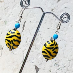 Funky Bright Blue Yellow Black Tiger Stripe Fantastic Plastic Earrings