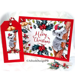 Koala Christmas Card and Tag