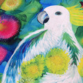 Cushion Cover - 'Garden Visitor - Sulphur Crested Cockatoo'  LAST ONE!