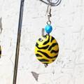 Funky Bright Blue Yellow Black Tiger Stripe Fantastic Plastic Earrings