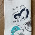 Linen Cat Themed Tea Towel