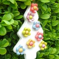 Handmade Ceramic Christmas Tree Ornament with Colourful Flowers